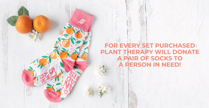 For every set purchased, Plant Therapy will donate a pair of socks to a person in need.